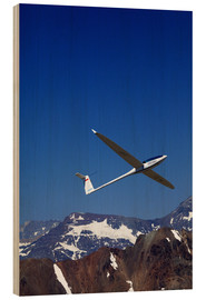 Wood print  Glider pilots over the mountains - David Wall