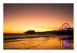 Premium poster  Santa Monica Pier in the evening - Dennis Flaherty