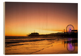 Wood print  Santa Monica Pier in the evening - Dennis Flaherty
