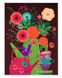 Premium poster  Flowers in the coffee pot - Elisandra Sevenstar