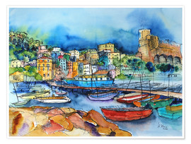 Premium poster  Lerici Liguria At the harbor - Hartmut Buse
