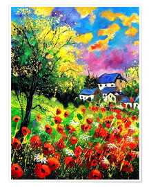 Premium poster Landscape with poppies