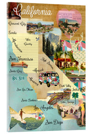 Acrylic print  Vintage California Map Collage Poster on wooden background - GreenNest