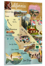 Foam board print  Vintage California Map Collage Poster on wooden background - GreenNest