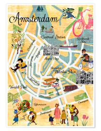 Premium poster Vintage Amsterdam Collage Poster