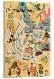 Wood print  Vintage Amsterdam Collage Poster - GreenNest