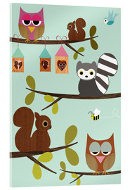 Acrylic print  Happy Tree with cute animals - owls, squirrel, racoon - GreenNest