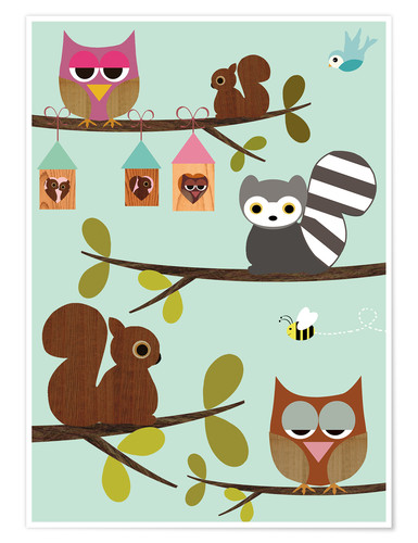 Premium poster Happy Tree with cute animals - owls, squirrel, racoon