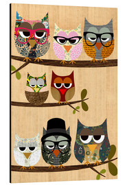 Aluminium print  Nerd owls on branches - my friends and me - GreenNest