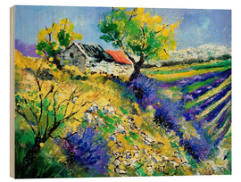 Wood print  Lavender fields - Pol Ledent