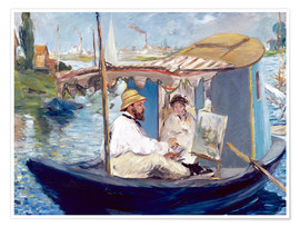 Premium poster  Monet painting on his studio boat - Edouard Manet