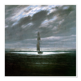 Premium poster Seascape in the Moonlight