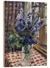 Wood print  Glass vase with Larkspur. 1924 - Lovis Corinth