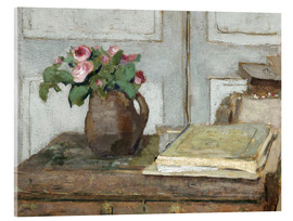 Acrylic print  Still life with the artist painting set and a vase with moss roses - Edouard Vuillard