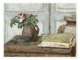 Premium poster Still life with the artist painting set and a vase with moss roses