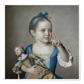 Premium poster  Girl with doll - Jean Etienne Liotard