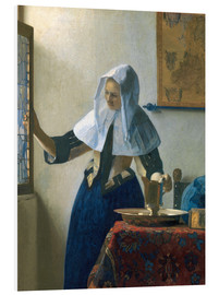 Foam board print  Young woman with a water jug by the window - Jan Vermeer
