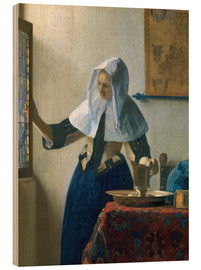 Wood print  Young woman with a water jug by the window - Jan Vermeer