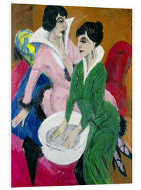 Foam board print  Two women with washbasin, The sisters - Ernst Ludwig Kirchner