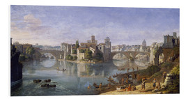 Foam board print  The Tiber Island in Rome. 1685 - Gaspar van Wittel
