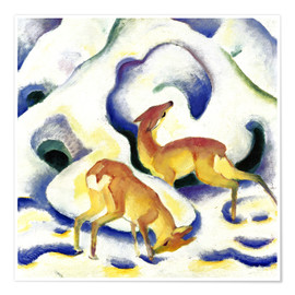Premium poster  Deer in the snow - Franz Marc