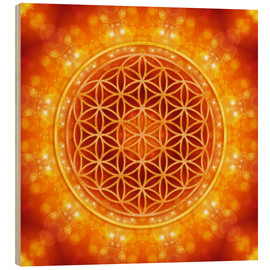 Wood print  Flower of life - golden age - Dolphins DreamDesign