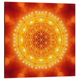 Aluminium print  Flower of Life - Golden LightEnergy - Dolphins DreamDesign