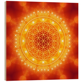 Wood print  Flower of Life - Golden LightEnergy - Dolphins DreamDesign