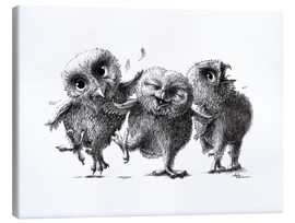 Canvas print  Three crazy owls - Stefan Kahlhammer