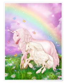 Premium poster  Unicorn rainbow magic - Dolphins DreamDesign