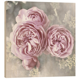 Wood print  Roses in shabby style - Christine Bässler