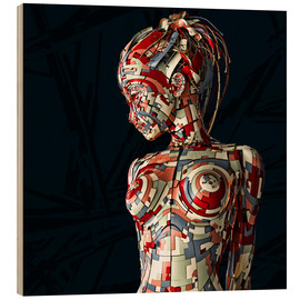 Wood print  robot girl - Maruto