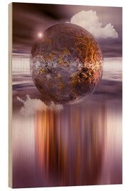 Wood  3D ball in purple and copper - INA FineArt