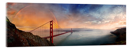 Acrylic print  San Francisco Golden Gate with rainbow - Michael Rucker