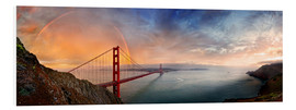 Foam board print  San Francisco Golden Gate with rainbow - Michael Rucker