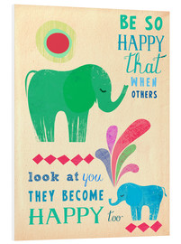 Foam board print  Happy elephants - Elisandra Sevenstar