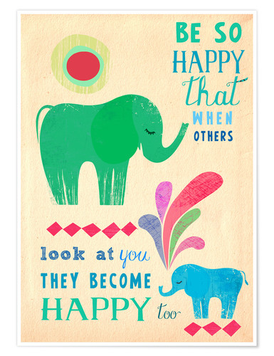 Premium poster Happy elephants