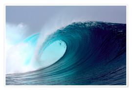 Premium poster  Tropical blue surfing wave - Paul Kennedy