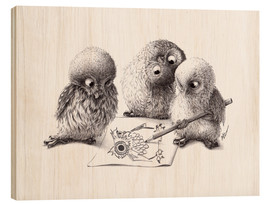 Wood print  Four owls - Stefan Kahlhammer