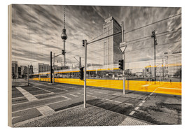 Wood print  Alexanderplatz Berlin Colorkey - Marcus Klepper