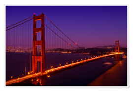 Premium poster Golden Gate Bridge by Night