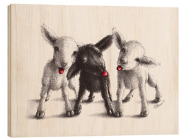Wood print  naughty sheep - Stefan Kahlhammer