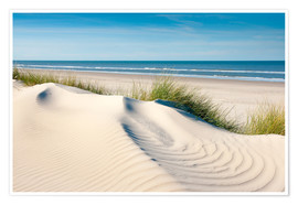 Premium poster Langeoog seascape with dunes and fine beach grass