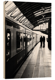 Wood print  S-Bahn Berlin black and white photo - Falko Follert