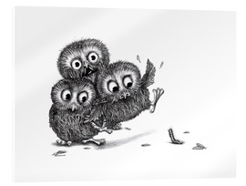 Acrylic print  Help, three owls and a monster - Stefan Kahlhammer