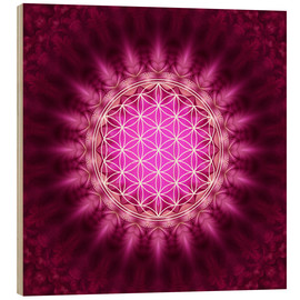 Wood print  Flower of life - symbol harmony and balance - red - Lava Lova