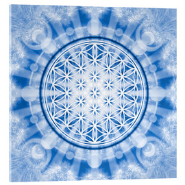 Acrylic print  flower of life blue - symbol harmony and balance - blue - Lava Lova