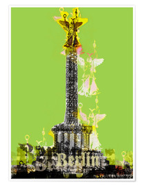 Premium poster Berlin Victory Column (on Green)