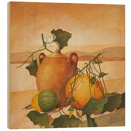 Wood print  Pumpkins and terracotta - Franz Heigl