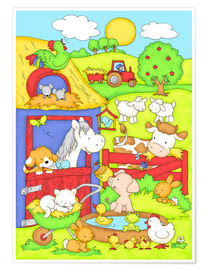 Premium poster  a day on the farm - Fluffy Feelings